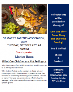 PARENTS ASSOCIATION AGM TUESDAY 22nd October 2019/BOM PARENT REPRESENTATIVE NOMINATION FORM