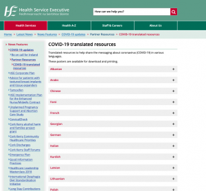 HSE Covid-19 Resources in a range of languages
