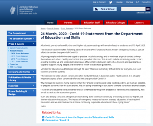 Covid-19 Statement from the Department of Education and Skills